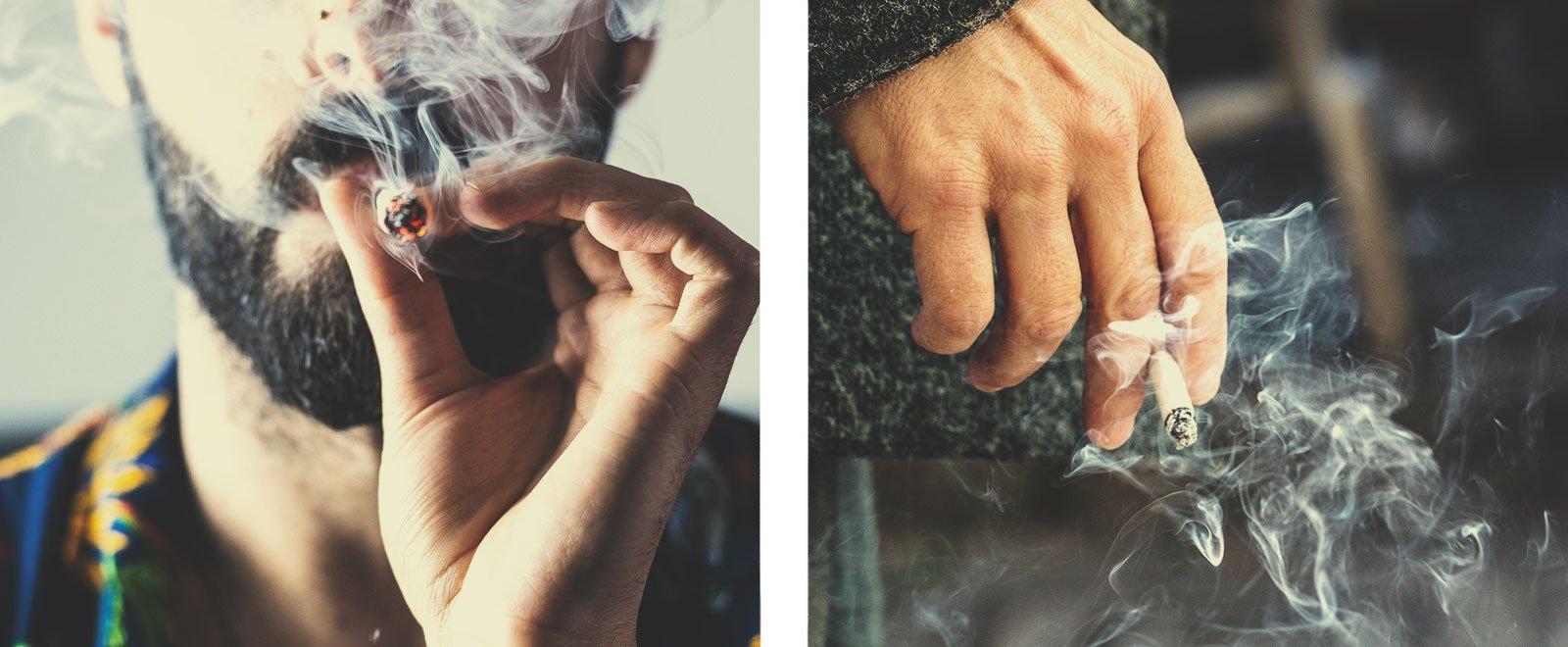 Cannabis- vs. Tabakrauch