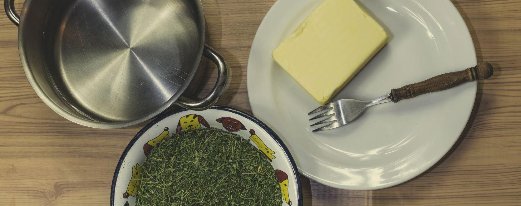 Finde Einen Ort Zum Kochen, Zerhacke Das Rohmaterial